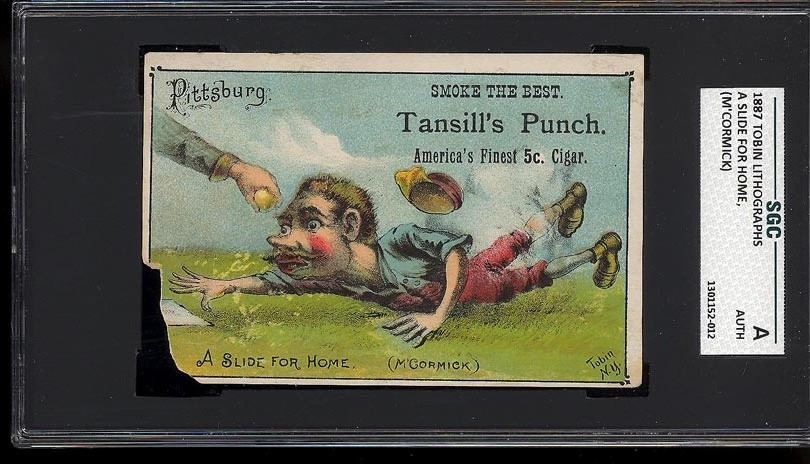 Image of: 1887 Tobin Lithographs A Slide For Home, M'Cormick SGC AUTH (PWCC)