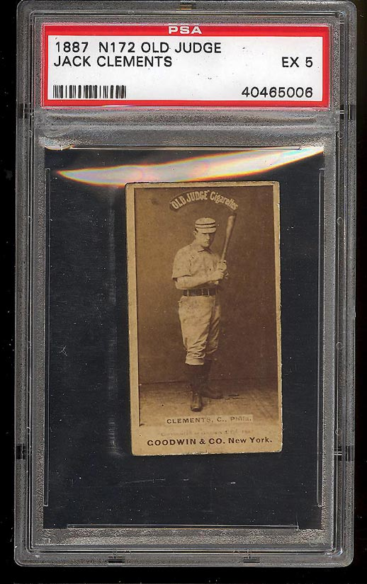 Image of: 1887 N172 Old Judge Jack Clements PHILADELPHIA PSA 5 EX (PWCC)