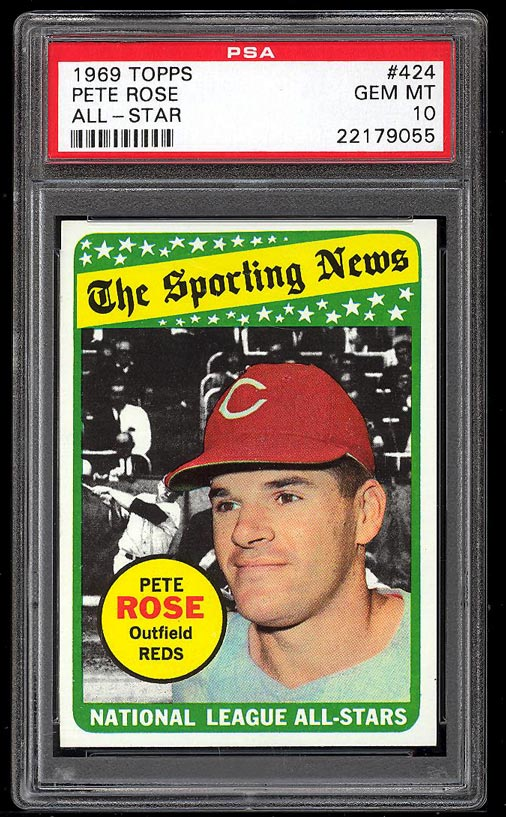 Image of: 1969 Topps Pete Rose ALL-STAR #424 PSA 10 GEM MINT (PWCC)