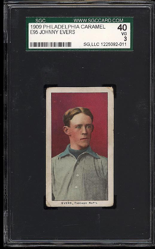 Image of: 1909 E95 Philadelphia Caramel Johnny Evers SGC 3 VG (PWCC)