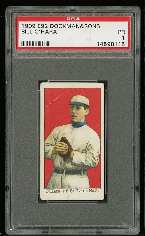 Image of: 1909 E92 Dockman & Sons Bill O'Hara PSA 1 PR (PWCC)