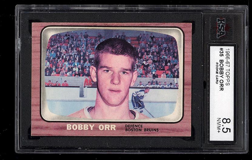 Image of: 1966 Topps Hockey Bobby Orr ROOKIE RC #35 KSA 8.5 NM-MT+ (PWCC)