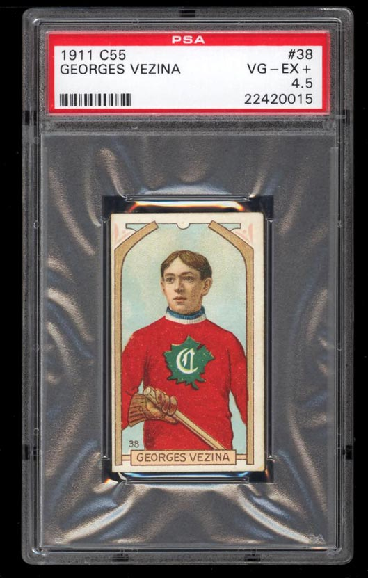 Image of: 1911 C55 Hockey Georges Vezina ROOKIE RC #38 PSA 4.5 VGEX+ (PWCC)