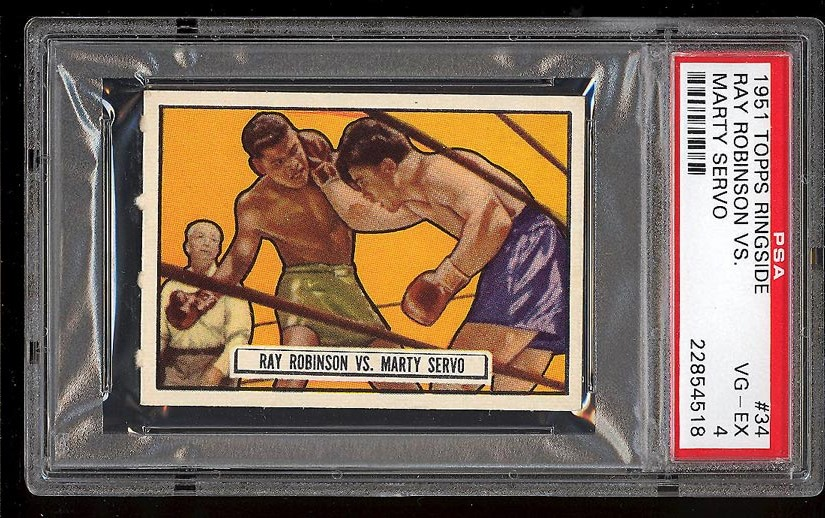 Image of: 1951 Topps Ringside Ray Robinson Vs. Marty Servo #34 PSA 4 VGEX (PWCC)