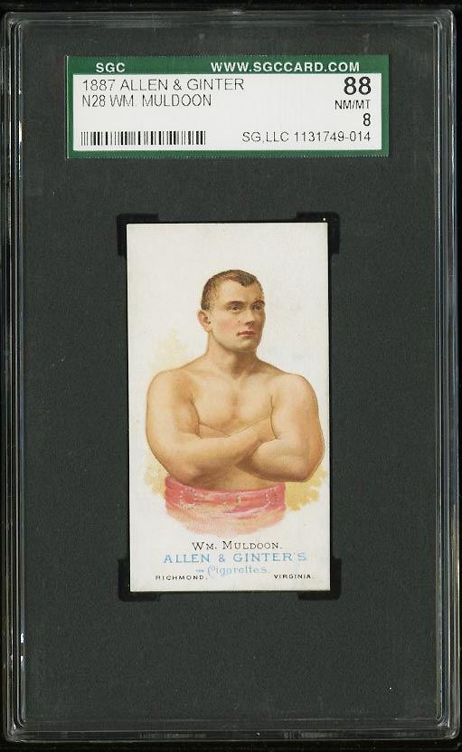Image of: 1887 N28 Allen & Ginter W.M. Muldoon BOXING SGC 8 NM-MT (PWCC)