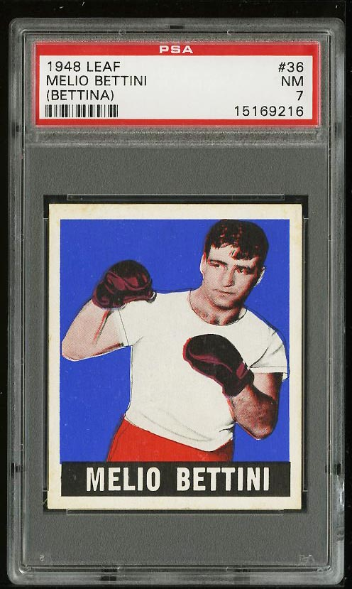Image of: 1948 Leaf Boxing Melio Bettini BETTINA ERROR #36 PSA 7 NRMT (PWCC)