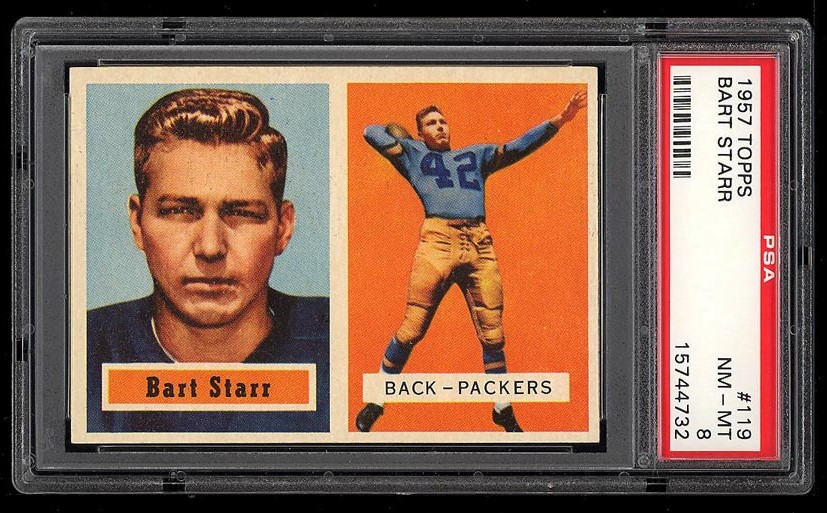 Image of: 1957 Topps Football Bart Starr ROOKIE RC #119 PSA 8 NM-MT (PWCC)