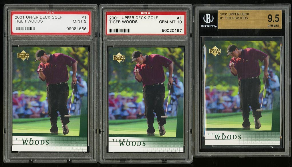 Image of: Lot(3) 2001 Upper Deck Golf Tiger Woods ROOKIE RC #1 BGS PSA 9 10 GEM MT (PWCC)
