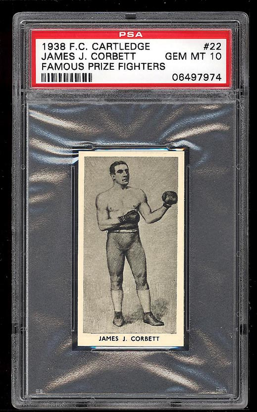 Image of: 1938 Cartledge Famous Prize Fighters James J. Corbett PSA 10 GEM MINT (PWCC)