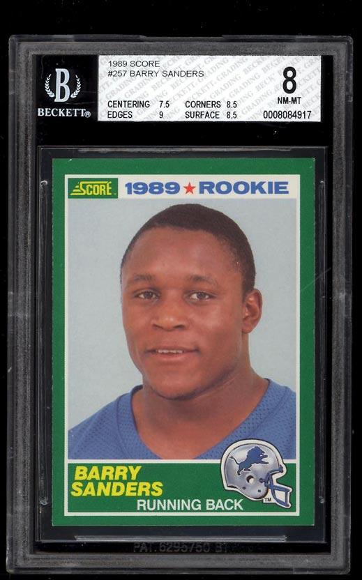 Image of: 1989 Score Football Barry Sanders ROOKIE RC #257 BGS 8 NM-MT (PWCC)