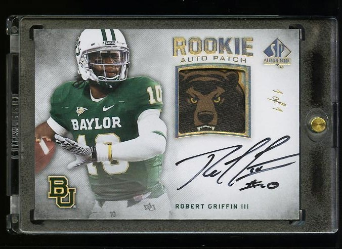 Image of: 2012 SP Authentic Robert Griffin III ROOKIE RC AUTO PATCH 1/1 #274 (PWCC)