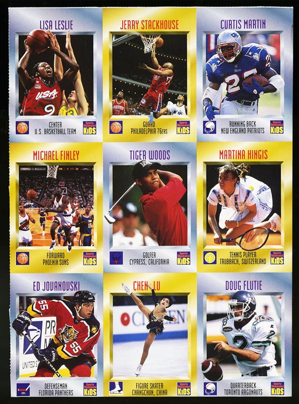 Image of: 1996 Sports Illustrated For Kids COMPLETE SHEET w/ Tiger Woods ROOKIE RC (PWCC)