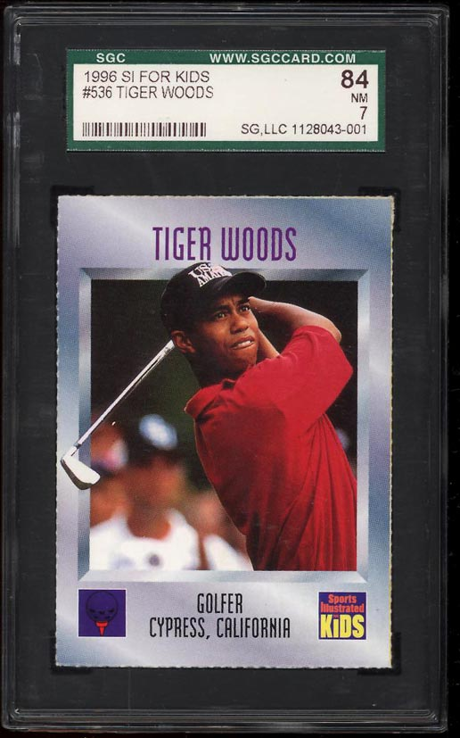 Image of: 1996 Sports Illustrated For Kids Golf Tiger Woods ROOKIE #536 SGC 7 NRMT (PWCC)