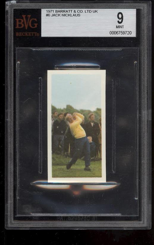 Image of: 1971 Barratt & Co. Golf Jack Nicklaus ROOKIE RC #6 BVG 9 MINT (PWCC)