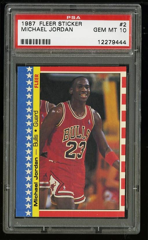 Image of: 1987 Fleer Sticker Basketball Michael Jordan #2 PSA 10 GEM MINT (PWCC)