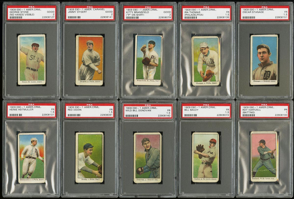 Image of: Lot(10) 1909 E90-1 American Caramel Bransfield Dooin Stanage, ALL PSA 1 2 (PWCC)