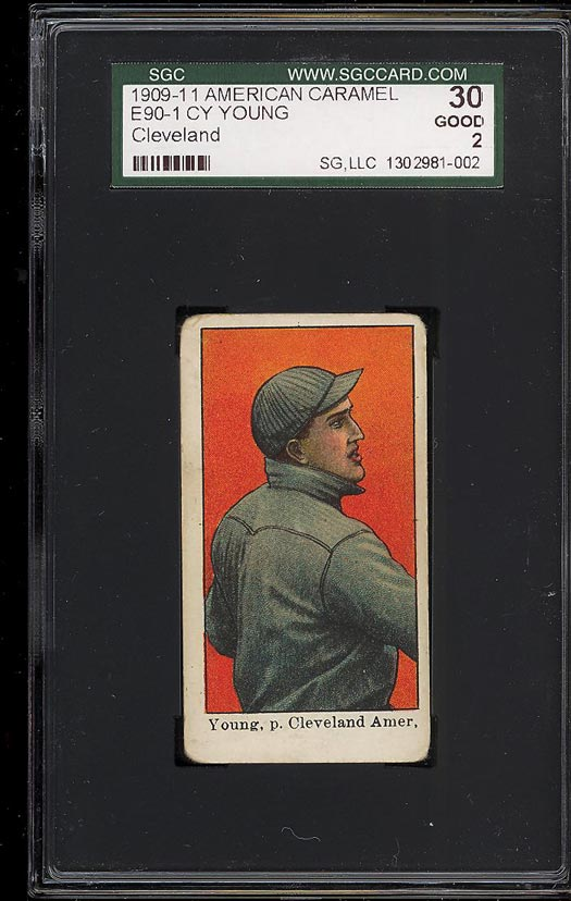 Image of: 1909 E90-1 American Caramel Cy Young CLEVELAND SGC 2 GOOD (PWCC)