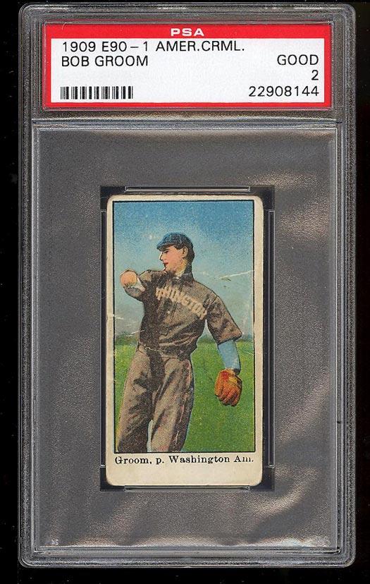 Image of: 1909 E90-1 American Caramel Bob Groom PSA 2 GD (PWCC)
