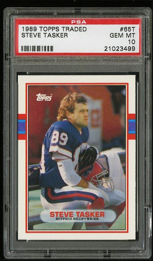 Image of: 1989 Topps Traded Football Steve Tasker ROOKIE RC #65T PSA 10 GEM MINT (PWCC)