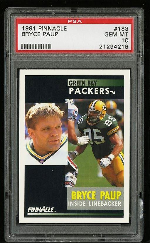 Image of: 1991 Pinnacle Football Bryce Paup ROOKIE RC #183 PSA 10 GEM MINT (PWCC)