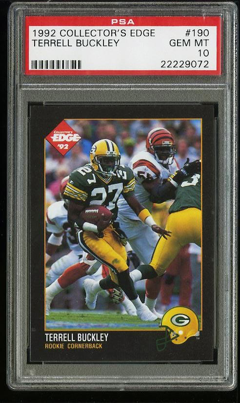 Image of: 1992 Collector's Edge Terrell Buckley ROOKIE RC #190 PSA 10 GEM MINT (PWCC)