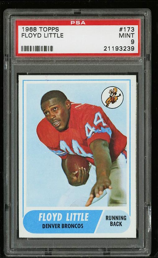 Image of: 1968 Topps Football Floyd Little ROOKIE RC #173 PSA 9 MINT (PWCC)