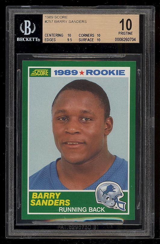 Image of: 1989 Score Football Barry Sanders ROOKIE RC #257 BGS 10 PRISTINE (PWCC)