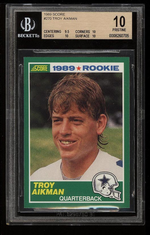 Image of: 1989 Score Football Troy Aikman ROOKIE RC #270 BGS 10 PRISTINE (PWCC)