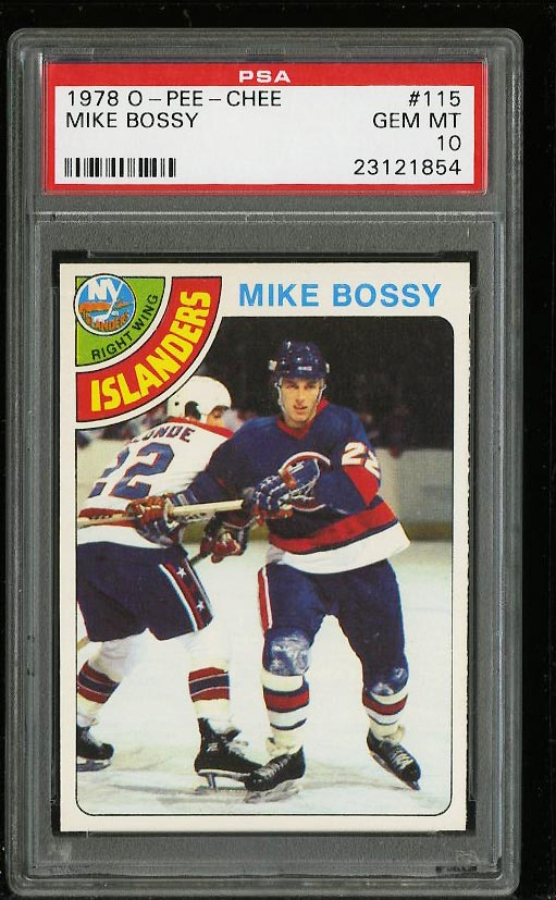 Image of: 1978 O-Pee-Chee Hockey Mike Bossy ROOKIE RC #115 PSA 10 GEM MINT (PWCC)