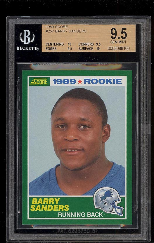 Image of: 1989 Score Football Barry Sanders ROOKIE RC #257 BGS 9.5 GEM MINT (PWCC)