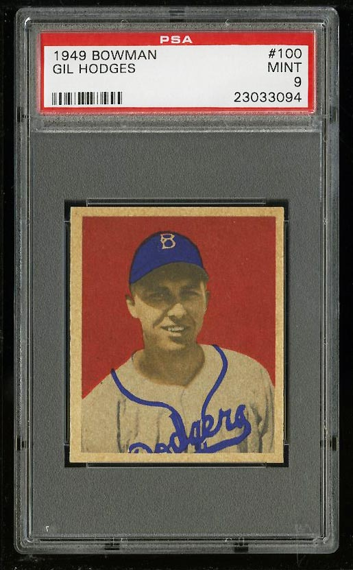 Image of: 1949 Bowman Gil Hodges ROOKIE RC #100 PSA 9 MINT (PWCC)