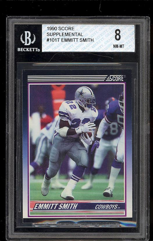 Image of: 1990 Score Supplemental Emmitt Smith ROOKIE RC #101T BGS 8 NM-MT (PWCC)