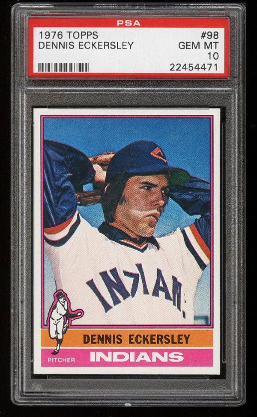 Image of: 1976 Topps Dennis Eckersley ROOKIE RC #98 PSA 10 GEM MINT (PWCC)