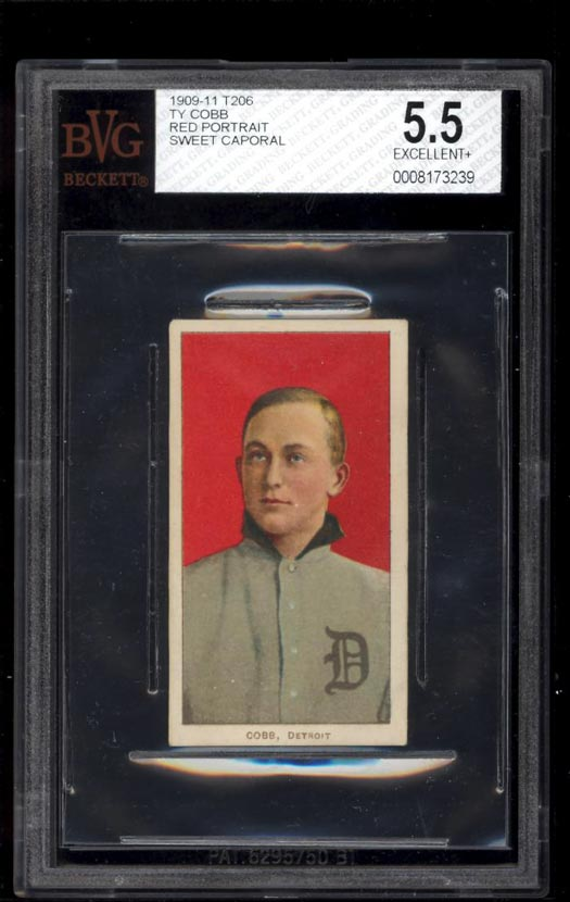 Image of: 1909-11 T206 Ty Cobb RED PORTRAIT BVG 5.5 EX+ (PWCC)
