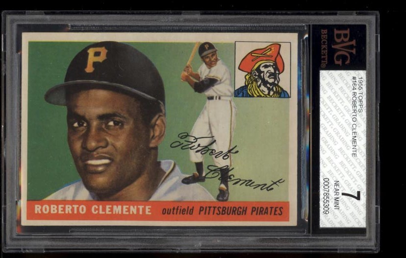 Image of: 1955 Topps Roberto Clemente ROOKIE RC #164 BVG 7 NRMT (PWCC)