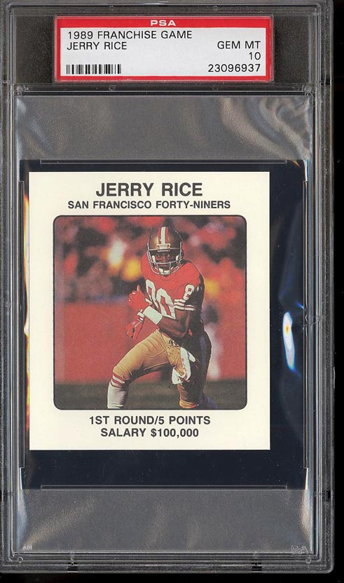 Image of: 1989 Franchise Game Football Jerry Rice PSA 10 GEM MINT (PWCC)