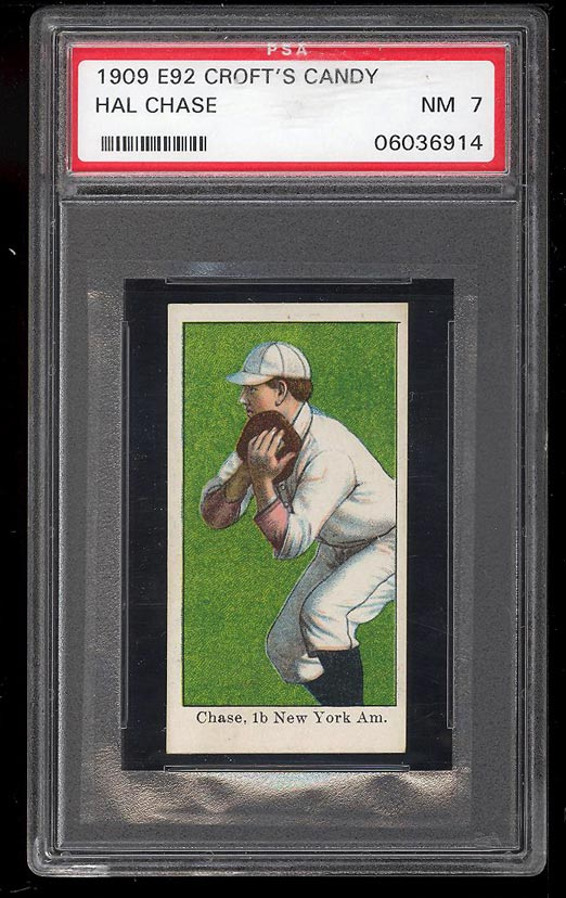 Image of: 1909 E92 Croft's Candy Hal Chase BLANK BACK PSA 7 NRMT (PWCC)