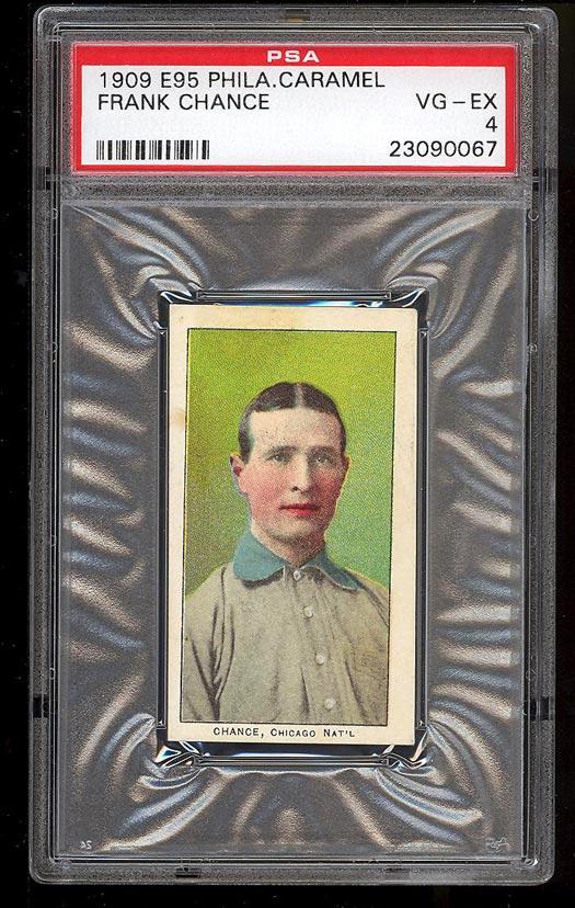 Image of: 1909 E95 Philadelphia Caramel Frank Chance PSA 4 VGEX (PWCC)