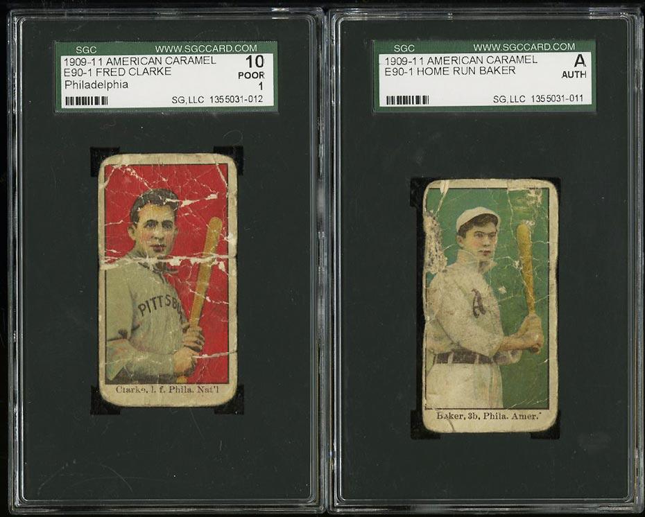 Image of: Lot(2) 1909-11 E90-1 Caramel Home Run Baker & Fred Clarke, SGC Auth 1 PR (PWCC)