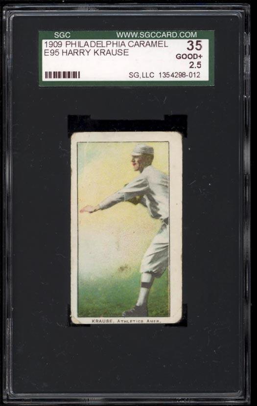 Image of: 1909 E95 Philadelphia Caramel Harry Krause SGC 2.5 GOOD+ (PWCC)