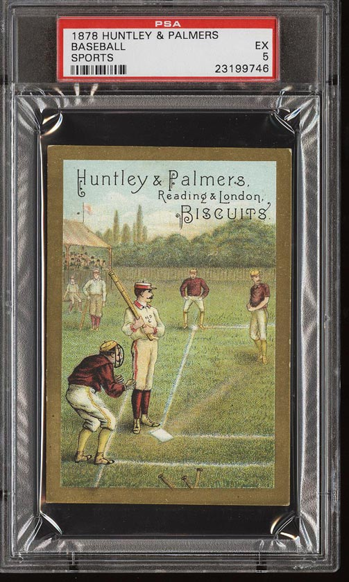 Image of: 1878 Huntley & Palmers Biscuits Baseball Lithograph PSA 5 EX (PWCC)
