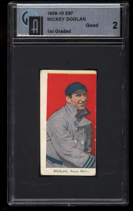 Image of: 1909 E97 Briggs Lozenge Mickey Doolan GAI 2 GOOD (PWCC)