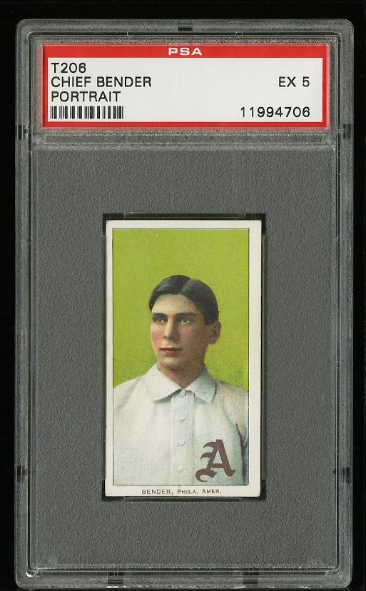 Image of: 1909-11 T206 Chief Bender PORTRAIT, SOVEREIGN PSA 5 EX (PWCC)