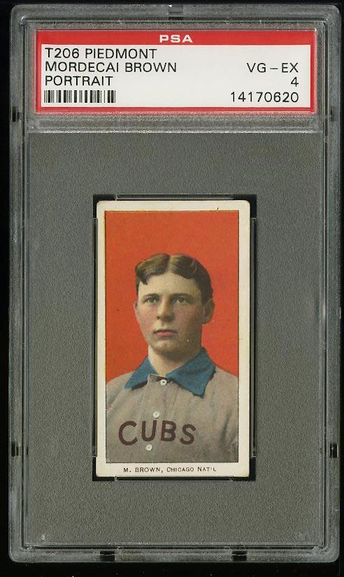 Image of: 1909-11 T206 Mordecai Brown PORTRAIT PSA 4 VGEX (PWCC)