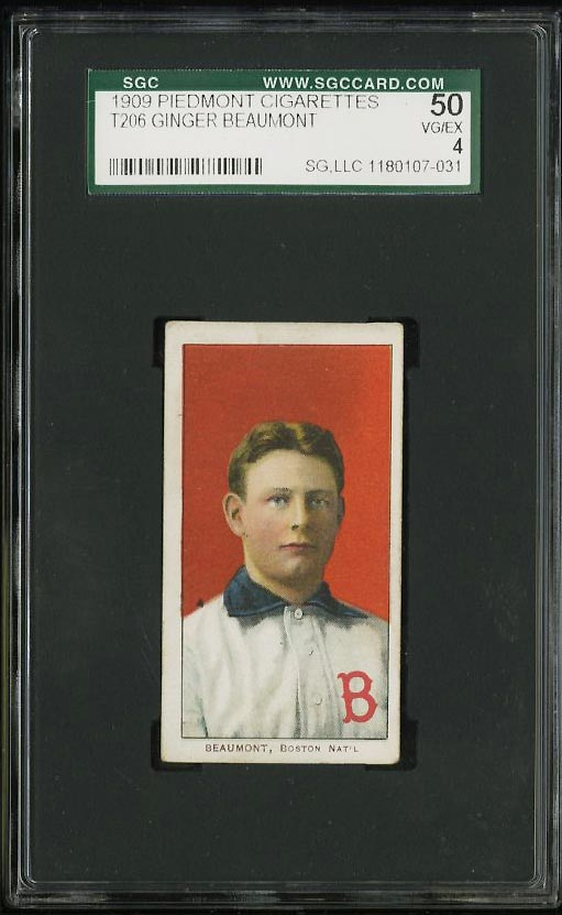 Image of: 1909-11 T206 Ginger Beaumont SGC 4 VGEX (PWCC)
