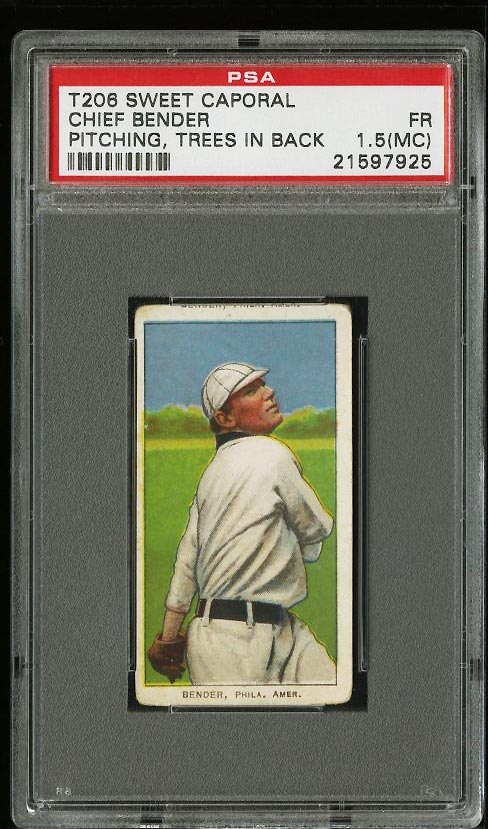 Image of: 1909-11 T206 Chief Bender PITCHING, TREES IN BACK PSA 1.5(mc) FR (PWCC)