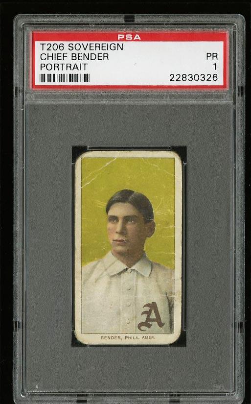 Image of: 1909-11 T206 Chief Bender PORTRAIT, SOVEREIGN PSA 1 PR (PWCC)