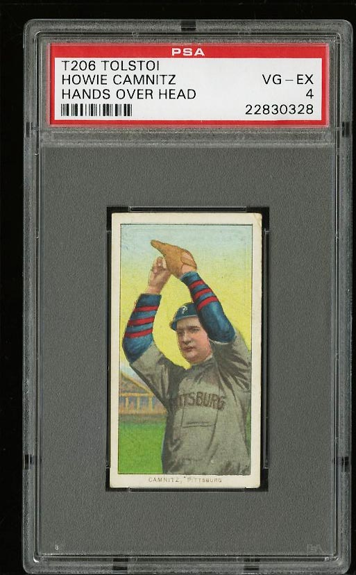 Image of: 1909-11 T206 Howie Camnitz HANDS OVER HEAD, TOLSTOI PSA 4 VGEX (PWCC)