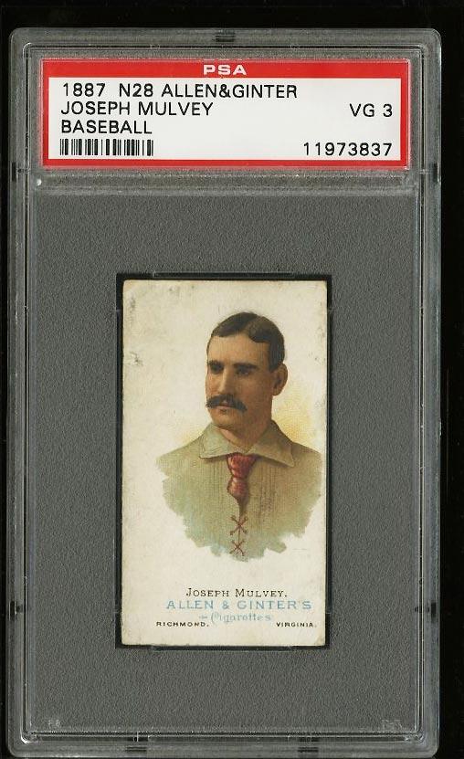 Image of: 1887 N28 Allen & Ginter Joseph Mulvey PSA 3 VG (PWCC)