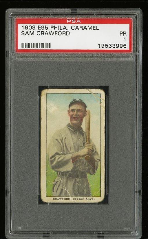 Image of: 1909 E95 Philadelphia Caramel Sam Crawford PSA 1 PR (PWCC)